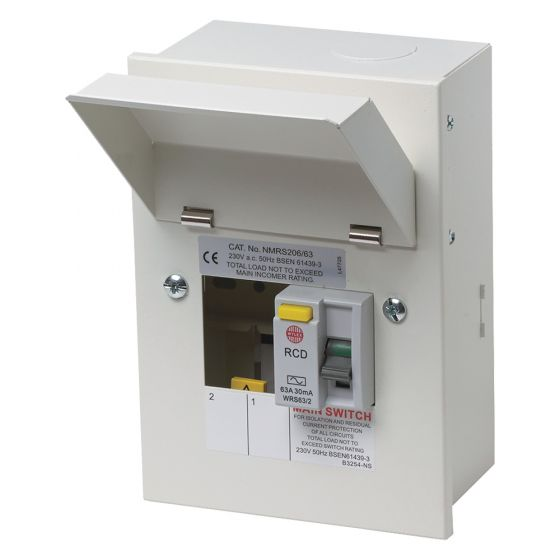 Image of Wylex NMRS206/63 RCD Incomer Consumer Unit 2 Way 63A 30mA