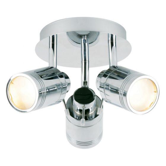 Image of Spa Scorpius Bathroom Triple Ceiling Spotlight GU10 35W Chrome Glass