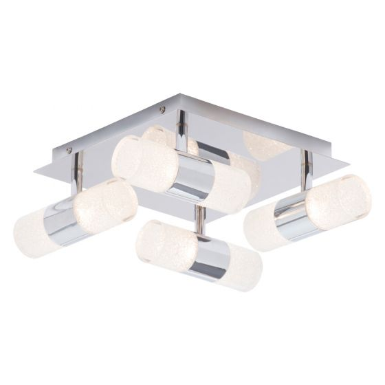 Image of Spa Oslo Crackle Bathroom Eight Light LED Ceiling Light 24W Chrome Opal