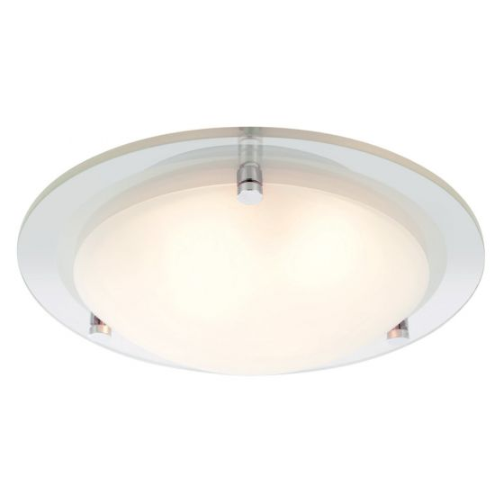 Image of Spa Draco Large Round Bathroom Ceiling Light 2x 28W G9 Glass Chrome