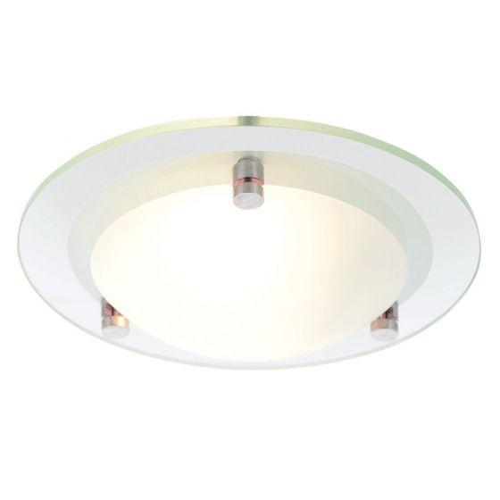 Image of Spa Draco Small Round Bathroom Ceiling Light 1x 28W G9 Glass Chrome