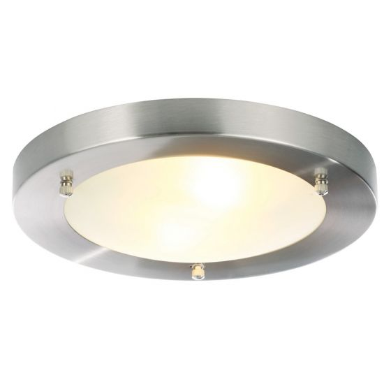 Image of Spa Canis Large Round Bathroom Ceiling Light 2x 28W G9 Nickel