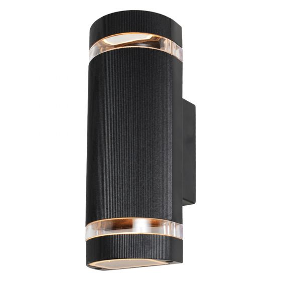 Image of Forum Zinc Helios Outdoor Wall Light GU10 Up and Down Black Aluminium