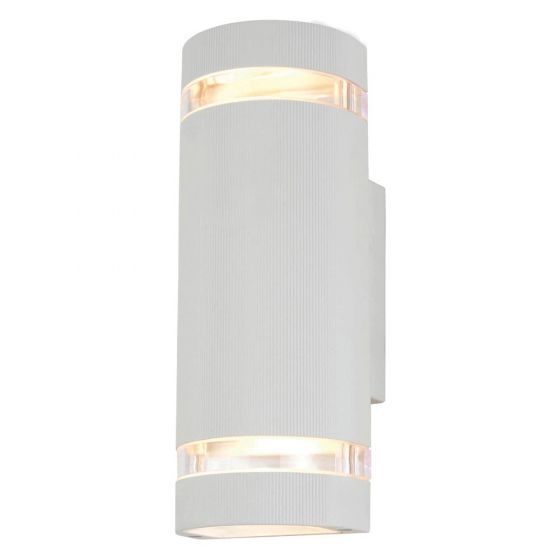 Image of Forum Zinc Helios Outdoor Wall Light GU10 Up and Down White Aluminium