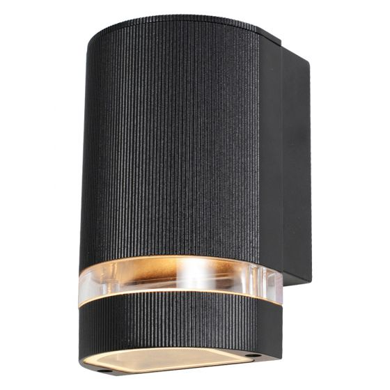 Image of Forum Zinc Helios Outdoor Wall Light GU10 Up or Down Black Aluminium