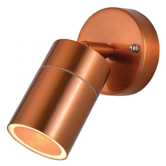 Image of Forum Zinc Leto Outdoor Wall Light GU10 Adjustable Spotlight Copper