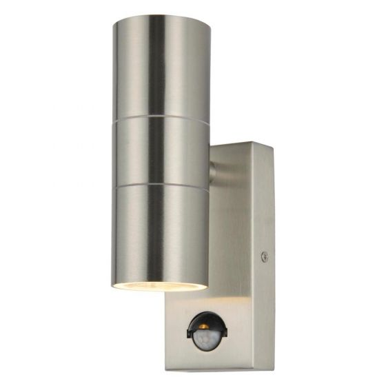 Image of Forum Zinc Leto PIR Outdoor Wall Light GU10 Up and Down Steel