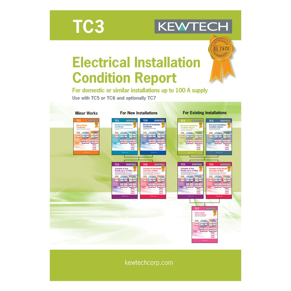 Kewtech TC4 Electrical Installation Condition Report For Over 100A Supply