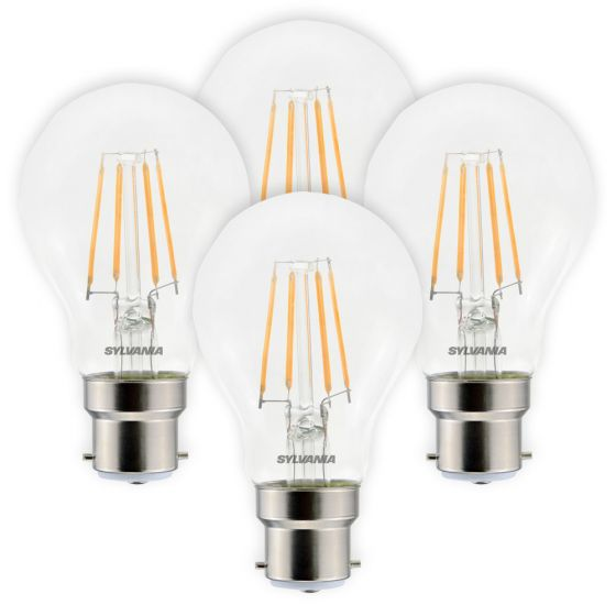 Image of Sylvania 4.5W BC B22 LED Filament GLS Bulbs Warm White 2700K 4 Pack