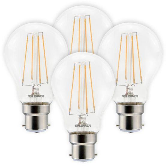 Image of Sylvania 7W BC B22 LED Filament GLS Bulbs Warm White 2700K 4 Pack