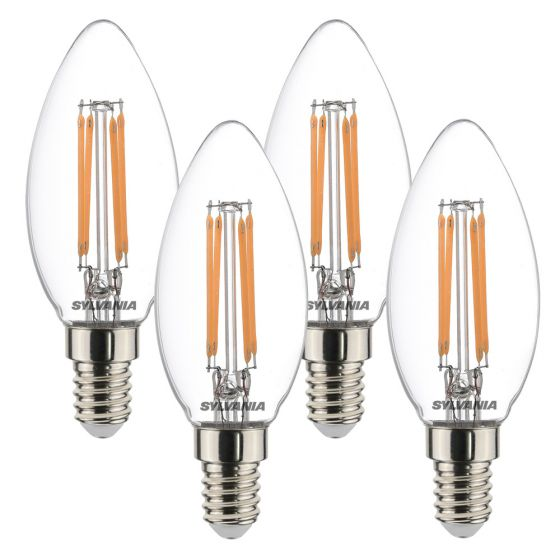 Image of Sylvania 4.5W SES E14 LED Filament Candle Bulbs Warm White 2700K 4 Pack