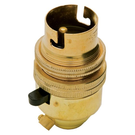 Image of Jeani A38 Brass Lampholder Bayonet Cap Switched with Lamp Shade Ring