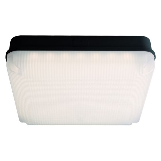 Image of Avenue LED Square Emergency Bulkhead 290mm 1150lm 12W 4000K IP65 Black Opal