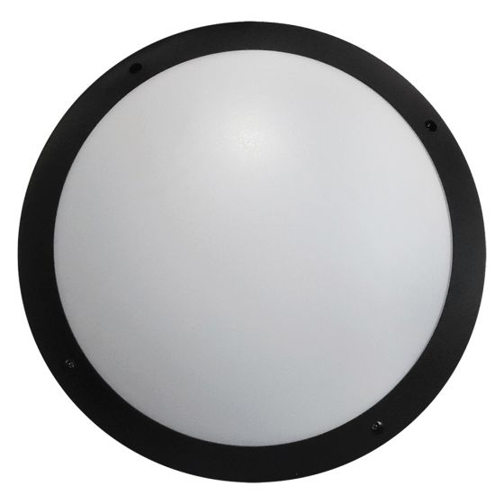 Image of Avenger Outdoor LED Round Bulkhead 800lm 12W 4200K Black Opal IP65