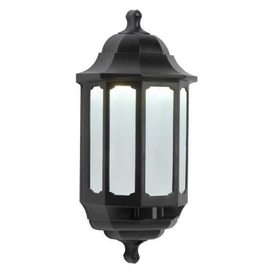 Image of Avenger LED Outdoor Half Lantern Light 8W Cool White Black Opal