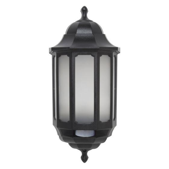 Image of Avenger LED Outdoor Half Lantern Light with PIR 8W Cool White Black Opal