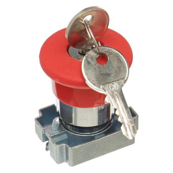 Image of Avenue Red Emergency Stop Button Mushroom Head Key Release 22mm