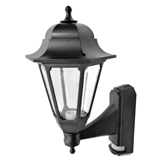 Image of Avenue Outdoor Coach Lantern Wall Light with PIR BC (B22) Black