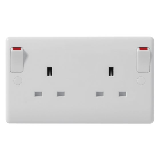 Image of Avenue Contour Switched Socket Converter 1 Gang to 2 Gang White