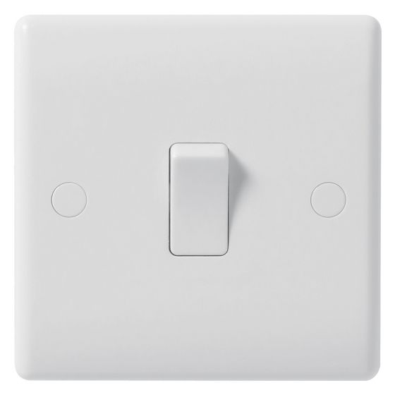 Image of Avenue Contour Light Switch 1 Gang 1 Way 10AX Inductive White