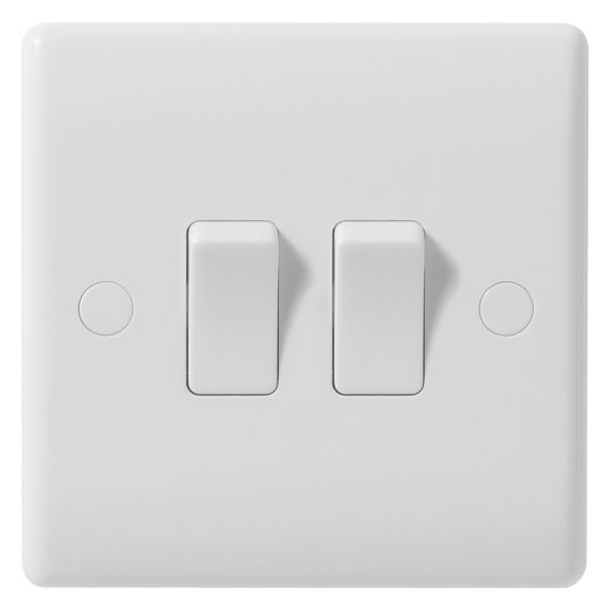 Image of Avenue Contour Light Switch 2 Gang 2 Way 10AX Inductive White