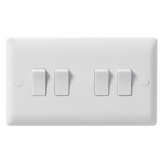Image of Avenue Contour Light Switch 4 Gang 2 Way 10AX Inductive White
