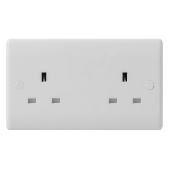 Image of Avenue Contour Unswitched Socket 2 Gang 13A Single Pole White