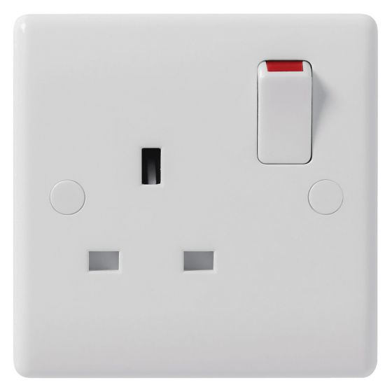 Image of Avenue Contour Switched Socket 1 Gang 13A Single Pole White
