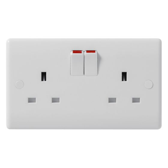Image of Avenue Contour Switched Socket 2 Gang 13A Single Pole White