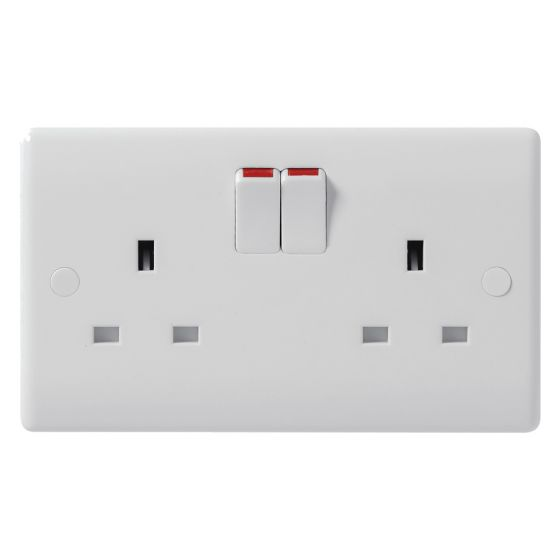 Image of Avenue Contour Switched Socket 2 Gang 13A Double Pole White