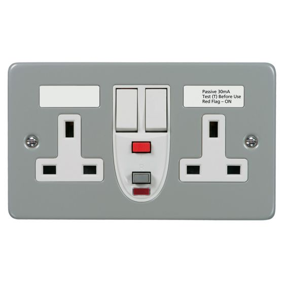Image of Avenue Switched RCD Socket 2 Gang 13A DP Latching Metalclad