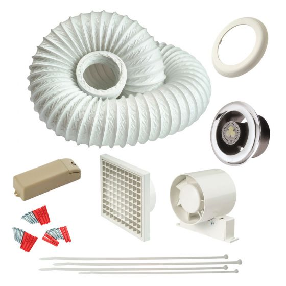 Image of Avenue 4 Inch In Line LED Shower Fan Kit with Timer Warm White Light