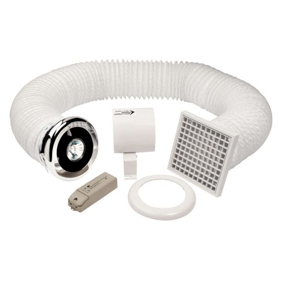 Image of Avenue 4 Inch In Line Halogen Shower Fan Kit with Timer and Light