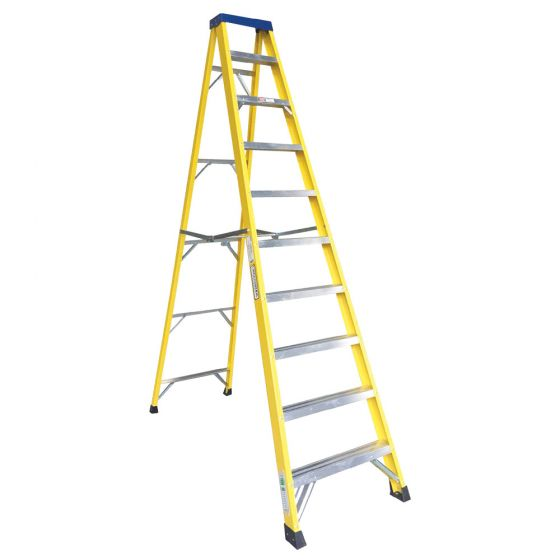 Image of Avenue Fibreglass Ladder 10 Tread Swingback Lightweight Yellow