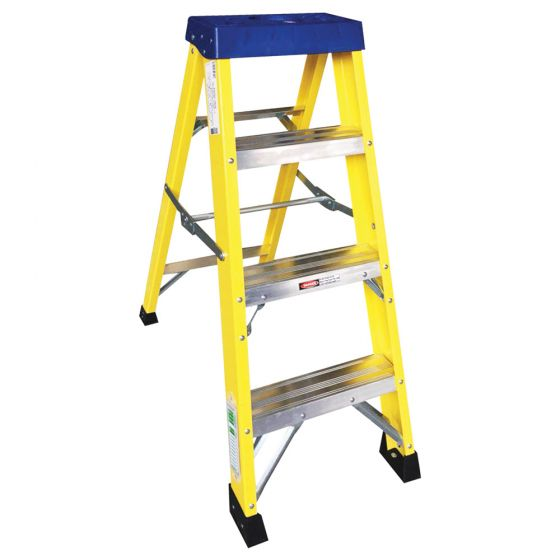 Image of Avenue Fibreglass Ladder 4 Tread Swingback Lightweight Yellow