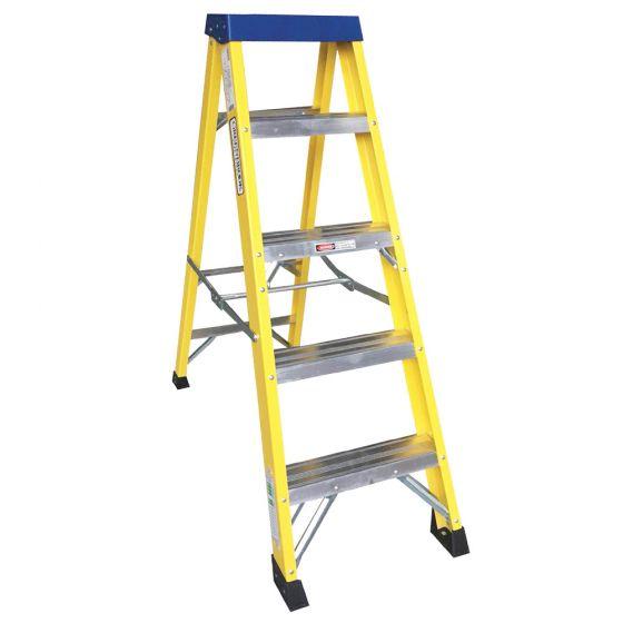 Image of Avenue Fibreglass Ladder 5 Tread Swingback Lightweight Yellow