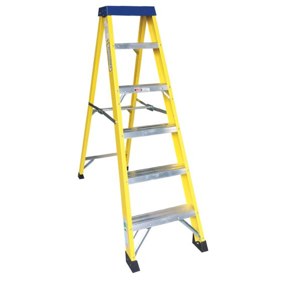 Image of Avenue Fibreglass Ladder 6 Tread Swingback Lightweight Yellow
