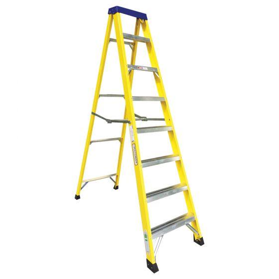 Image of Avenue Fibreglass Ladder 8 Tread Swingback Lightweight Yellow