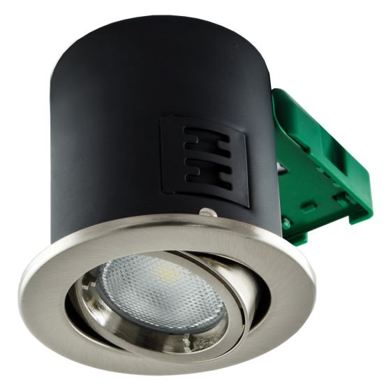 Image of Avenue GU10 Downlight Tilt Satin Chrome Fire Rated No Lamp IP20