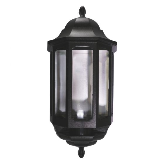 Image of Avenue Outdoor Half Lantern Wall Light with PIR BC (B22) Black