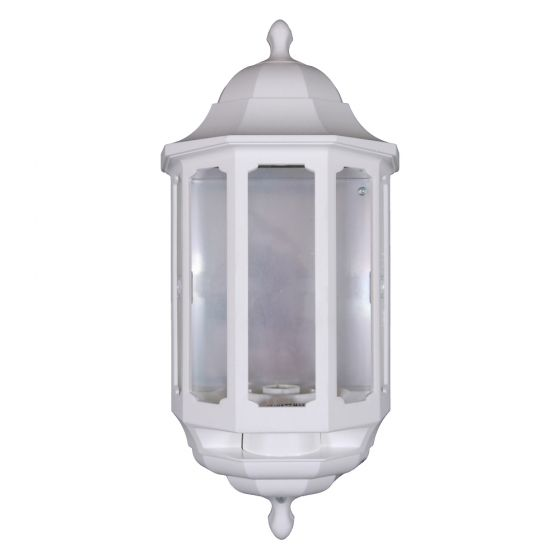 Image of Avenue Outdoor Half Lantern Wall Light with PIR BC (B22) White
