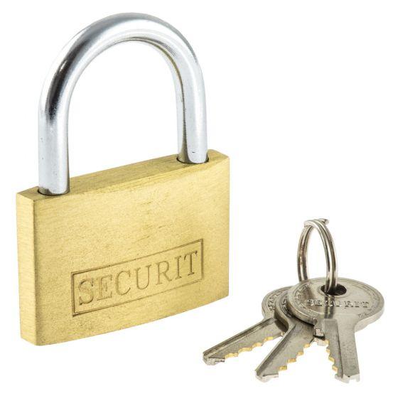 Image of Avenue Brass Padlock 25mm Wide 3 Spare Keys