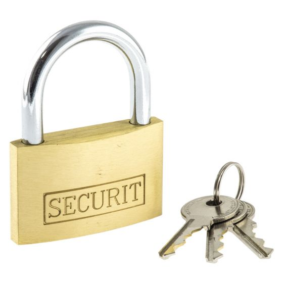 Image of Avenue Brass Padlock 50mm Wide 3 Spare Keys