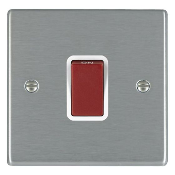 Image of Avenue Slim 45A Cooker Switch 1 Gang Double Pole Satin Steel White