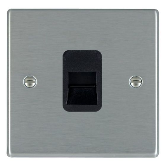 Image of Avenue Slim Telephone Socket Slave 1 Gang Satin Steel Black