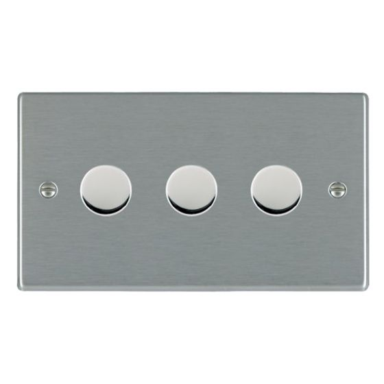 Image of Avenue Slim Intelligent LED Dimmer Switch 3 Gang 5-100W Satin Steel