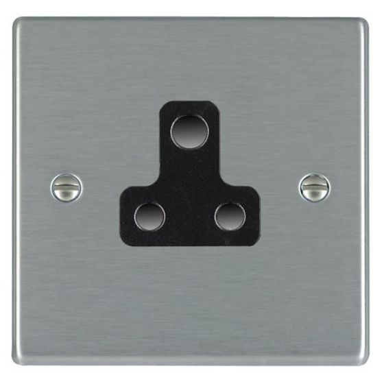 Image of Avenue Slim Unswitched Single Socket 5A Satin Steel Black
