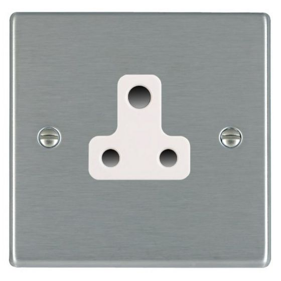 Image of Avenue Slim Unswitched Single Socket 5A Satin Steel White