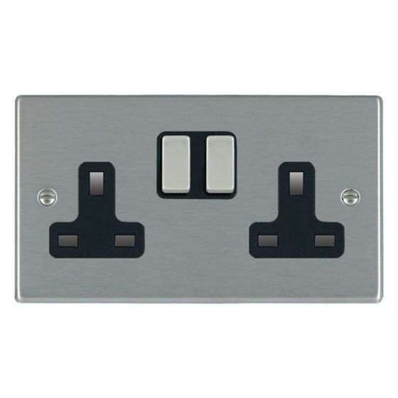 Image of Avenue Slim Switched Socket 2 Gang 13A Double Pole Satin Steel Black