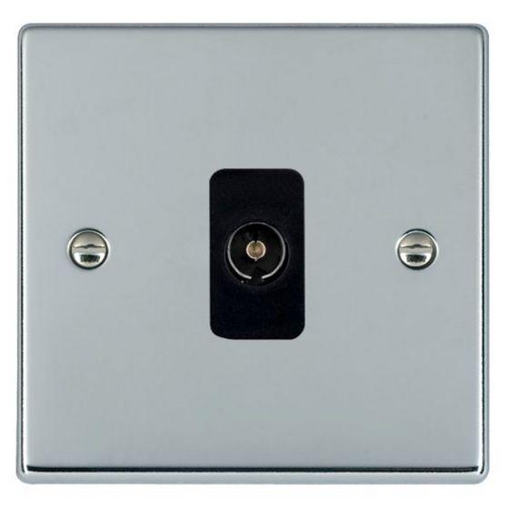 Image of Avenue Slim TV Socket Non Isolated Female 1 Gang Polished Chrome Black